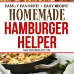 This one-pot Cheeseburger Skillet Casserole is a delicious version of Homemade Hamburger Helper we all loved as kids. It's an easy and delicious budget-friendly dinner idea. Your family will love this easy dinner recipe. Pasta and ground beef and covered in a cheesy sauce. This one-pot pasta meal is delicious.