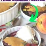 Blueberries and peaches are the fruits of summer! This pair up in this easy cobbler recipe to make this delicious Blueberry Peach Cobbler. This homemade cobbler recipe is a perfect way to enjoy their summer bounty! Read this post for how to make a simple blueberry peach cobbler from scratch.