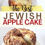 This Jewish Apple Cake recipe is moist and packed with sweet apples and cinnamon. This easy apple cake has a crunchy apple cinnamon topping. Be sure to grab a slice before it's all gone. This dairy-free Apple Cake recipe is moist and packed with sweet apples and cinnamon. This easy apple cake recipe is our family's favorite and is a delicious moist apple cake that taste's just like fall.