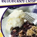 It's blueberry season! This easy blueberry crisp recipe it the perfect way to celebrate. This fruit crisp is a super simple summer dessert and perfect with a dollop of ice cream. This recipe is one of our favorite summer desserts. You family will love this quick and easy fruit crisp recipe. Blueberry crisp is a classic fruit dessert that can be made with fresh or frozen blueberries. This summer dessert has a crunchy oat topping and a juicy blueberry filling.