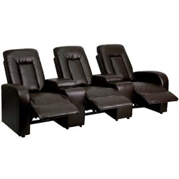 8. Flash Furniture Eclipse Series 3-Seat Reclining Brown Leather Theater Seating Unit