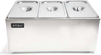 2: SYBO ZCK165A-3 Commercial Grade Stainless Steel Bain Marie Buffet Food Warmer