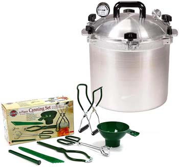 5. All American 21.5 QT Pressure Cooker Bundle with 2 Racks and Norpro Canning Essentials 6 Piece Box Set
