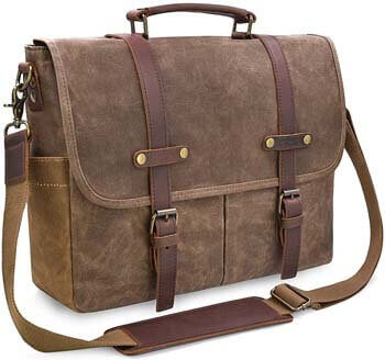 5. NEWHEY Men's Messenger Bag 15.6 Inch Waterproof Vintage Genuine Leather Waxed Canvas Briefcase