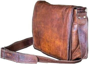 4. VC VINTAGE COUTURE 18 inch Leather Full Flap Messenger Handmade Bag