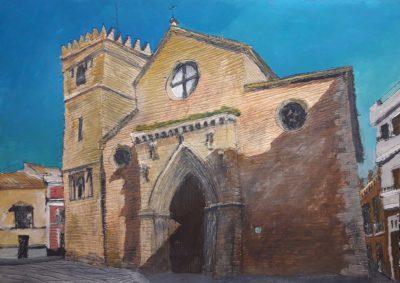 Sevilla. Iglesia de Santa Marina. Tinta, acuarela y acrílico sobre papel, 21 x 30 cm. 2018.