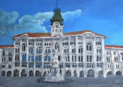 Trieste. Piazza Unità d'Italia. Tinta, acuarela y acrìlico sobre papel, 30 x 42 cm. 2018.