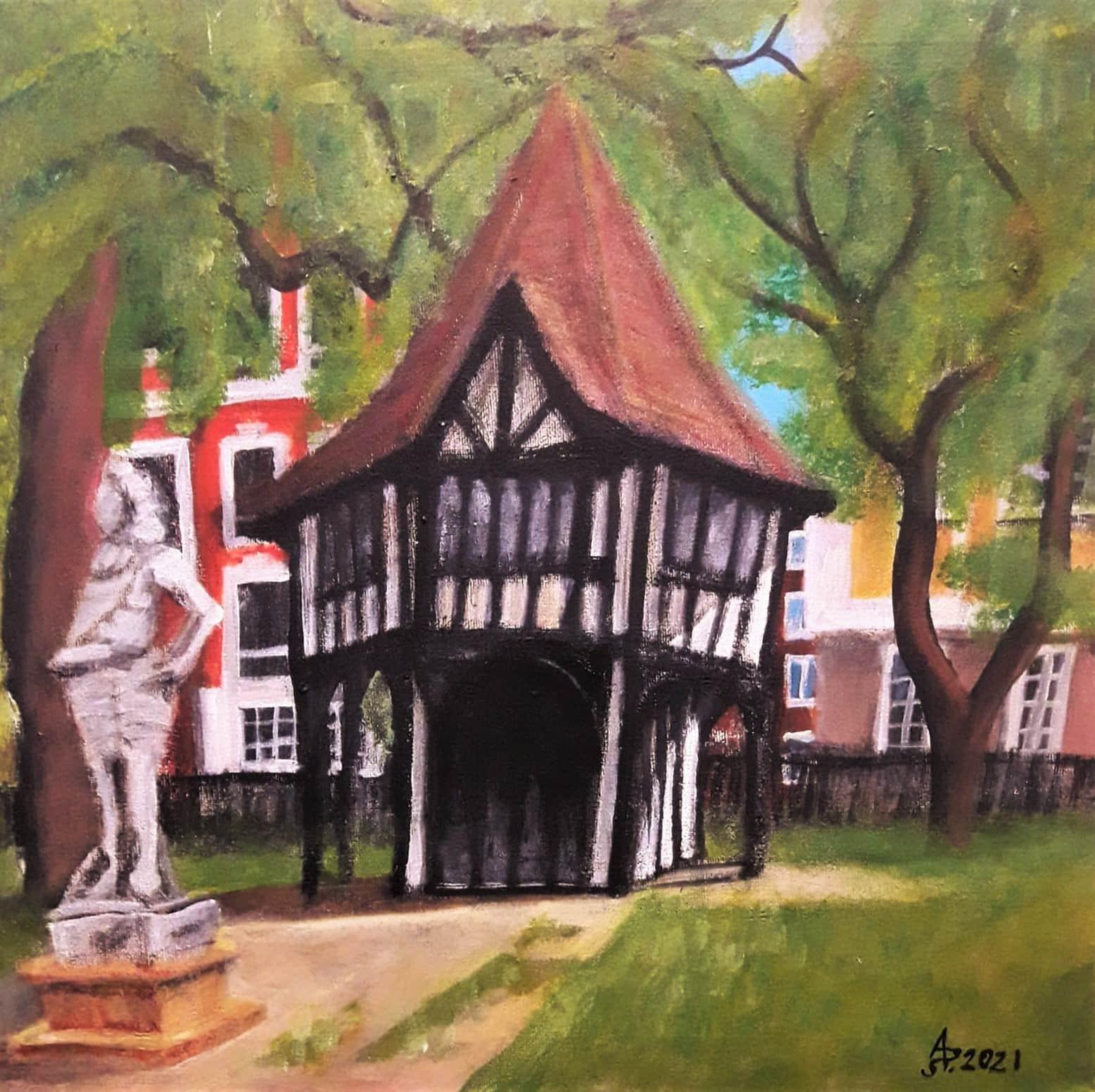 Londres, Soho Square. Acrilico sobre lienzo, 40 x 40 cm. 2021.