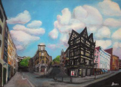 Londres. Old Compton street, Soho. Acrílico sobre lienzo, 50 x 70 cm. 2021.