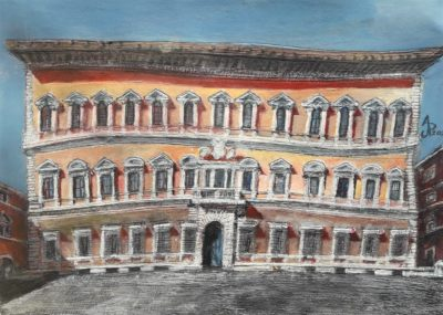 Roma. Palazzo Farnese. Acrlíico sobre papel de 450 g/m2. 29,7 x 42 cm. A3. 2020.