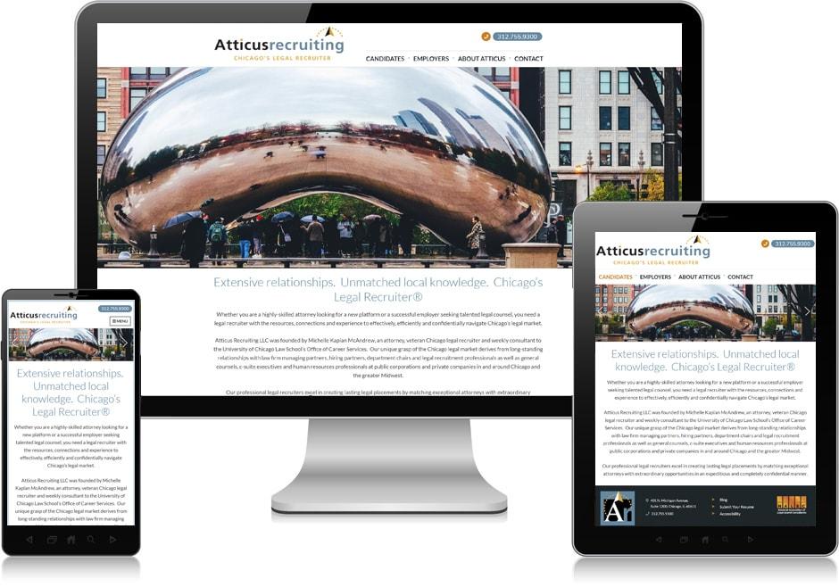 Screenshot of website for Atticus Recruiting