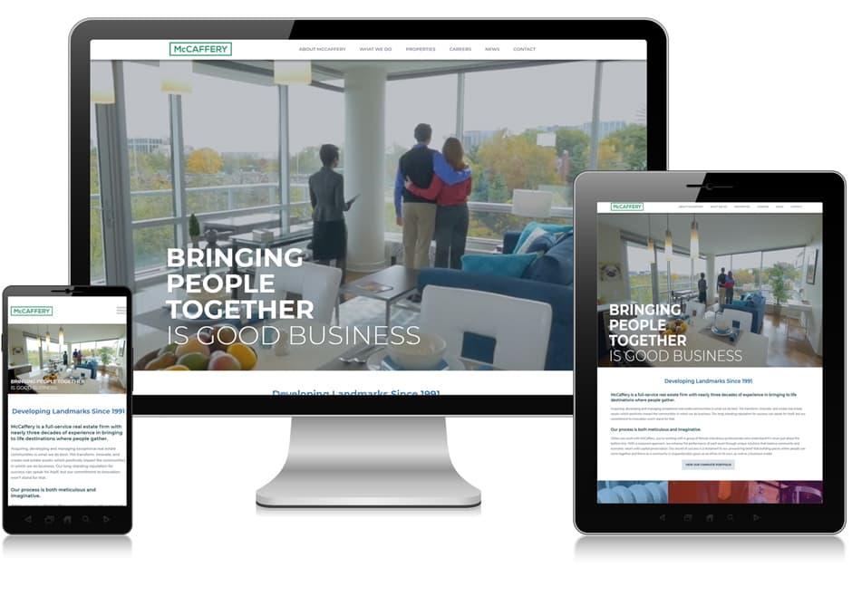Screenshot of website for McCaffery Inc.