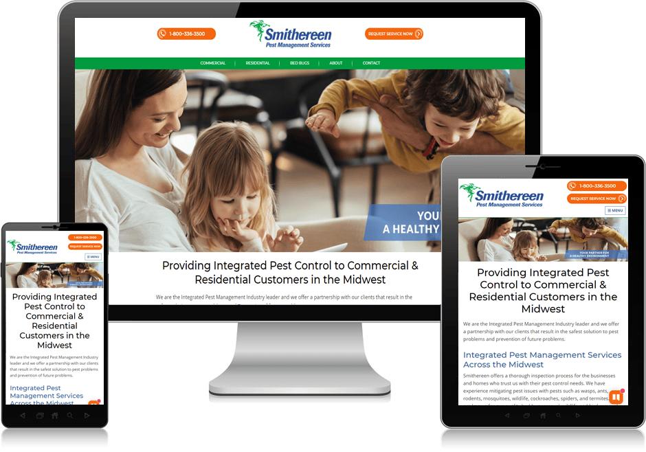 Screenshot of website for Smithereen Pest Management