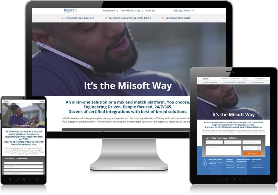 Screenshot of website for Milsoft Utility Solutions