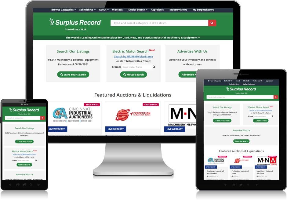 Screenshot of website for Surplus Record