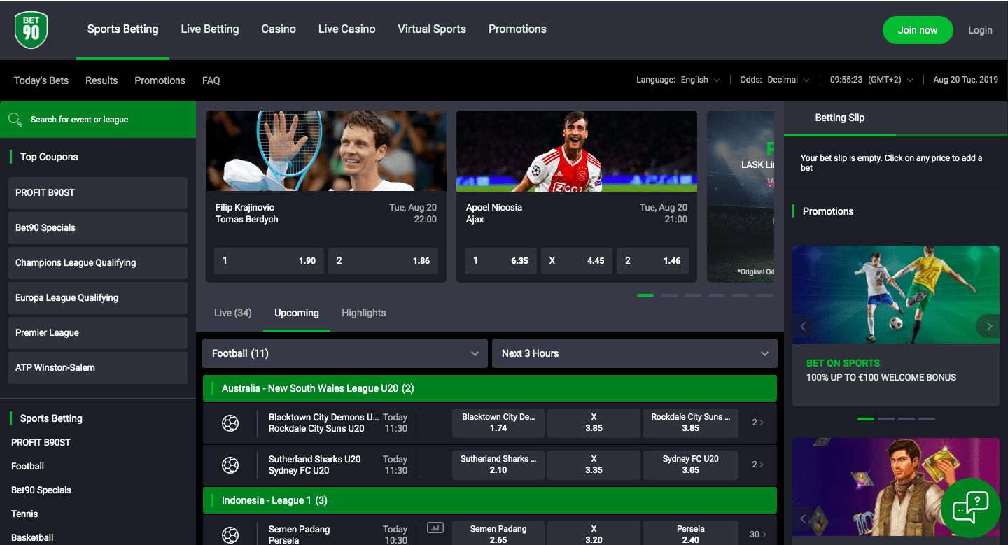 Bet90 review