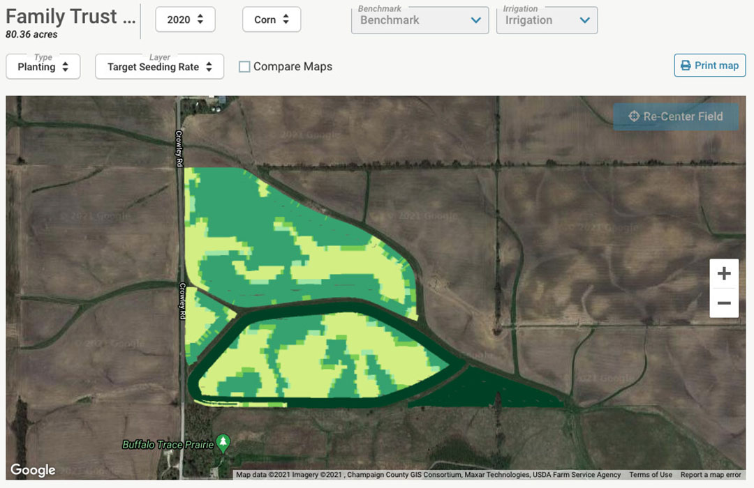 This image shows seeding rates. FBN has a team of data specialists who help growers seamlessly upload data. - Image: Farmers Business Network