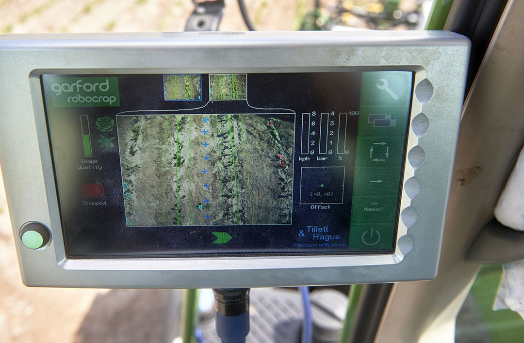 As soon as one of the cameras detects a plant between the dashed green lines, it marks it virtually (the small green square at the bottom) to activate one or more nozzles of the spray boom. The cameras don't actually recognise the type of weed or crop. - Photo: Van Assendelft Fotografie