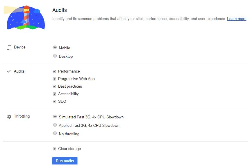 Configurazione LightHouse per Google Chrome