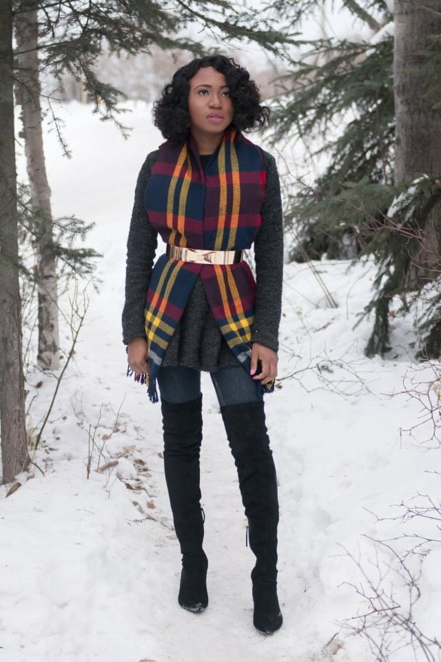 Styling a lovely scarf, draped front cardigan and over the knee boots