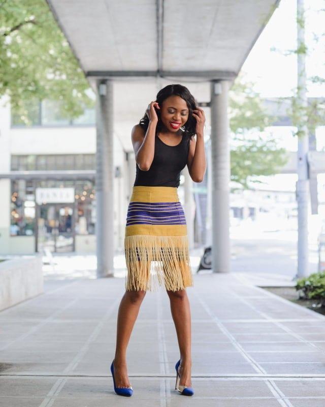 Aso oke traditional fringe skirt