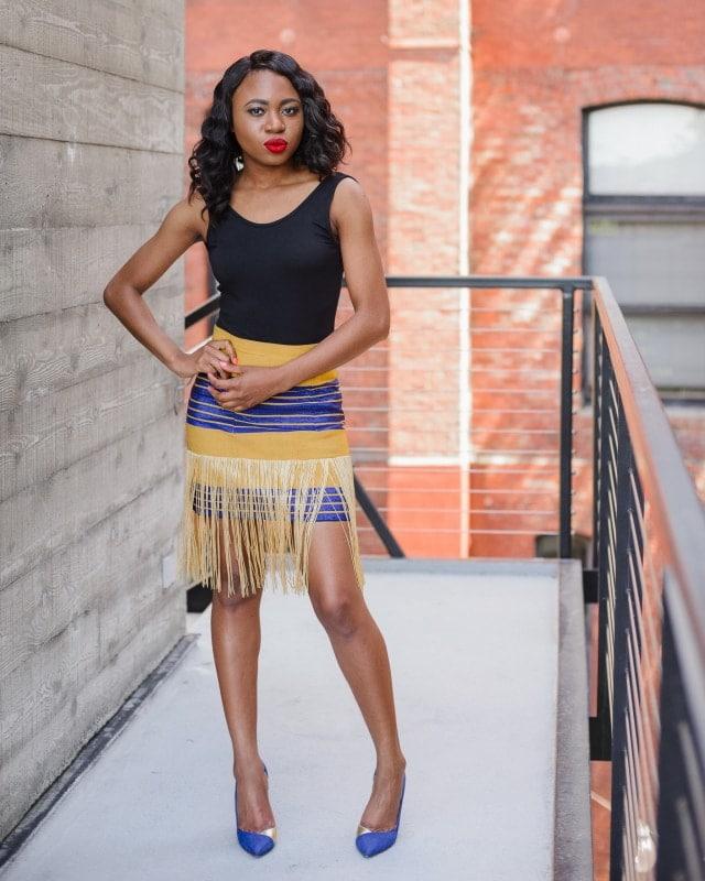 Nigerian in traditional inspired aso oke fringe skirt
