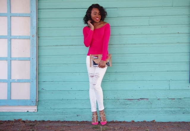 Ripped denim and studded heels: white and pink outfit
