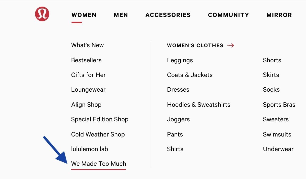 Lululemon We Made Too Much section (Lululemon Sale)
