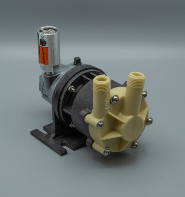 March Pump's MDK-MT3-AM centrifugal sealless magnetic drive air powered kynar pumps ideal for chemical applications.