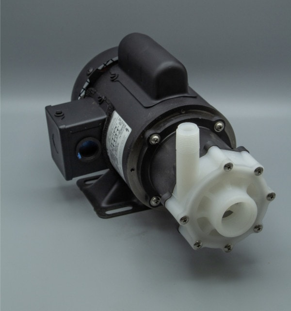 March Pump's TE-5NK-MD centrifugal sealless magnetic drive pumps constructed from Natural Kynar great for chemical applications.