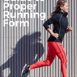 Female runner near wall