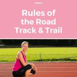 female runner kneeling on track and using etiquette