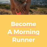 female runner stretching in morning with sunrise