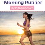 female runner on beach at sunrise for morning run
