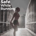 female runner stretching at night