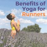 female runner practicing yoga in field of flowers