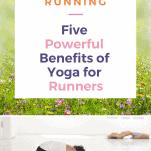 female runner in yoga childs pose