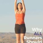 female runner doing yoga stretch outdoors