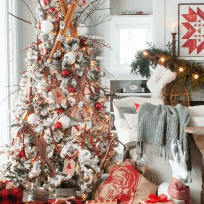 Flocked Ski Christmas Tree