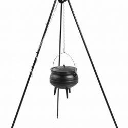 Statief recht 180cm met Afrikaanse kookpot (set) – Recht statief 180cm met Afrikaanse gietijzeren kookpot 6 Liter
