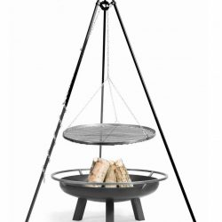Statief 180cm + grillrooster + vuurschaal Porto – Statief 180cm + grillrooster 70cm + vuurschaal Porto 80cm