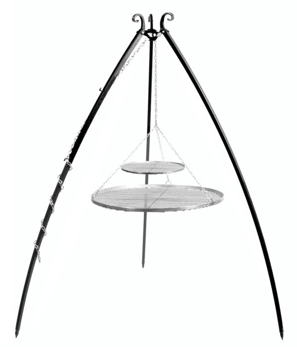Driepoot 200 cm met dubbel RVS grillrooster 80+40 cm
