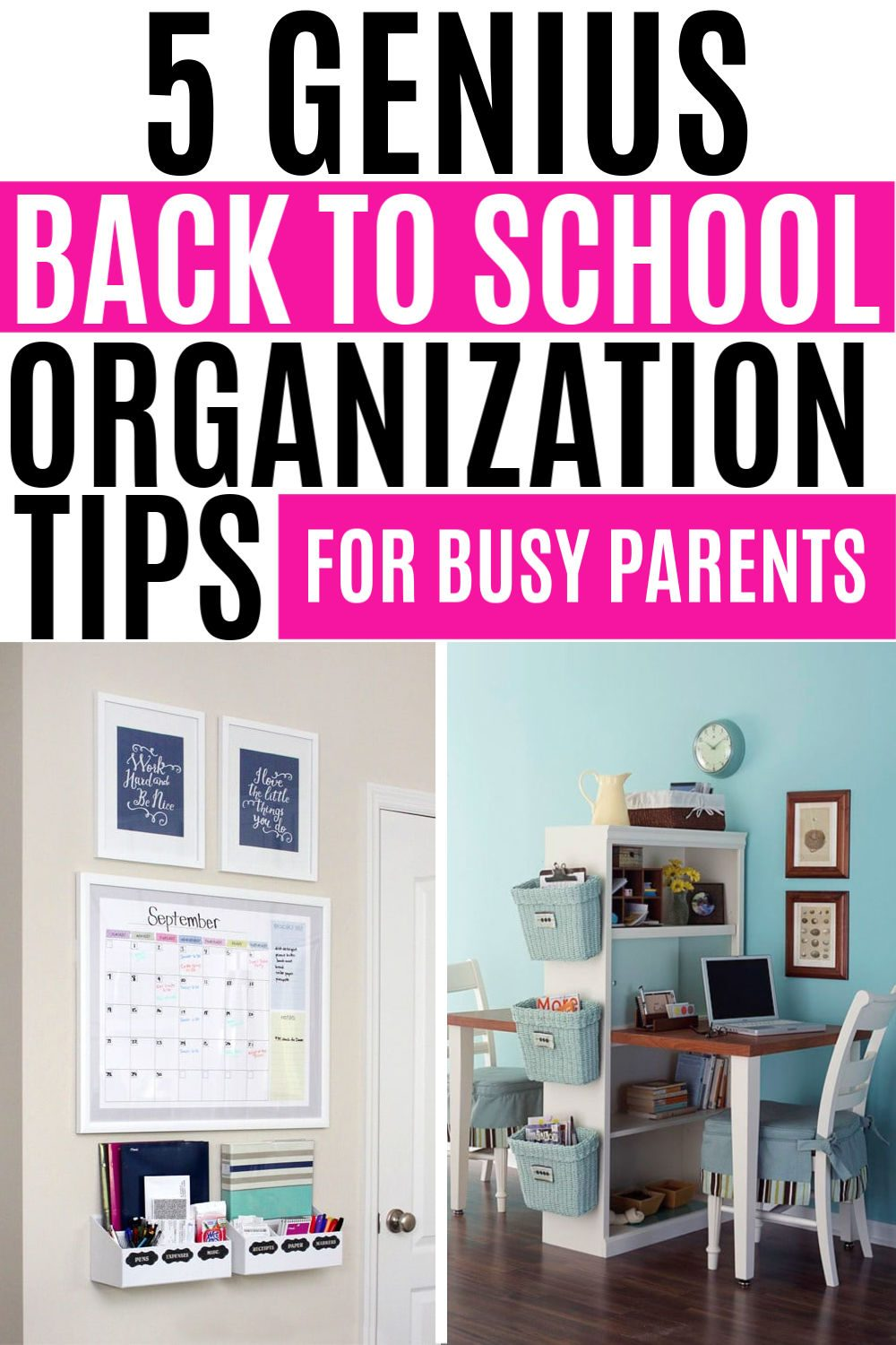 Don't start another school year as a hot mess! Check out these 5 genius tips for back to school organization to get your kids ready for learning! #unclutteredsimplicity