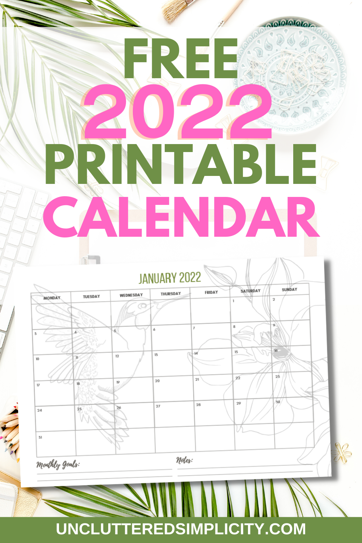 free 2022 printable calendar pin