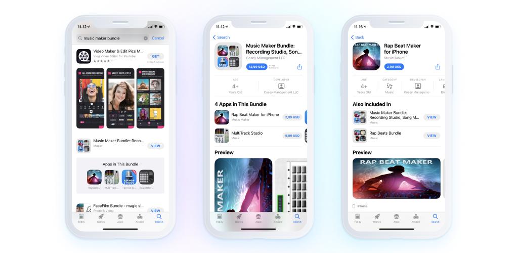 music app - screensots - app bundle