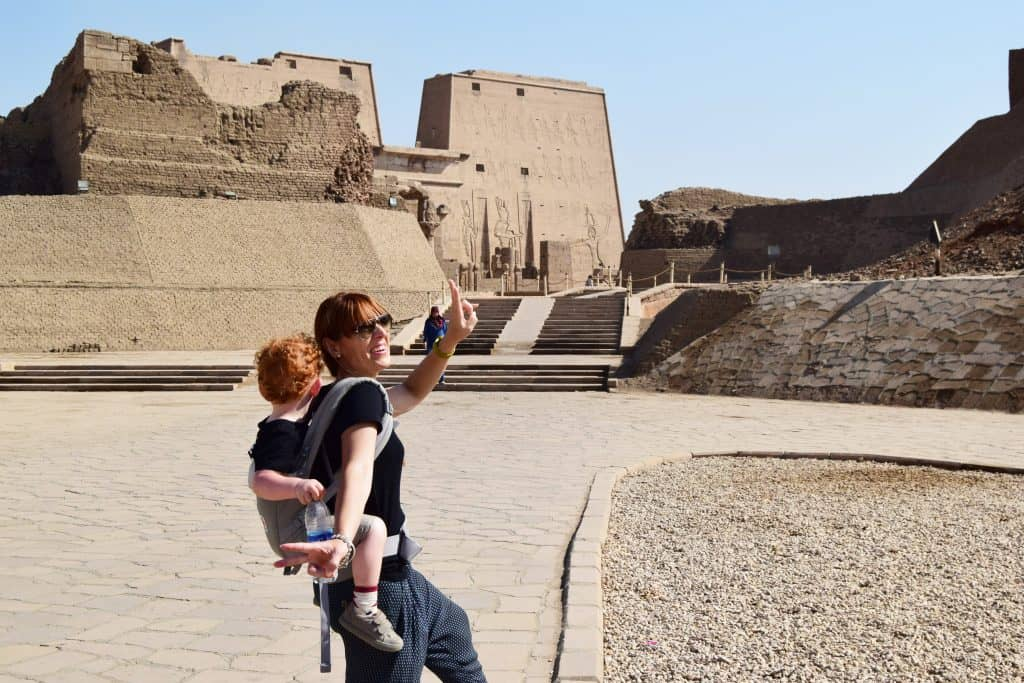 Edfu temple:I still always bring my Egobaby adapt while travelling, it is still comfortable enough to use on my back