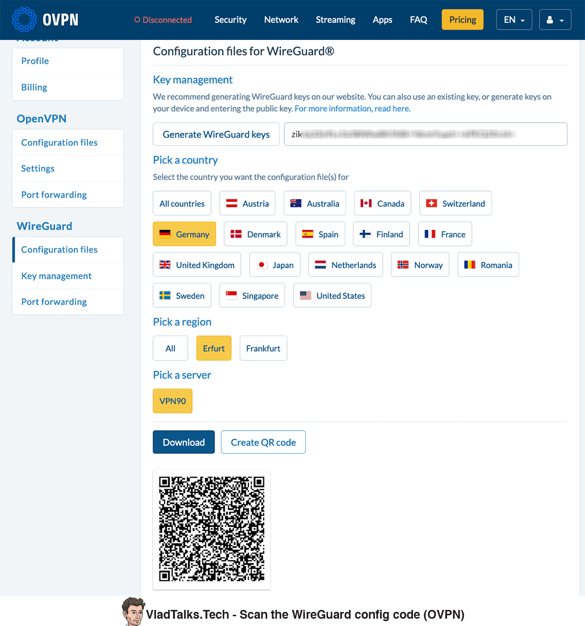 Scan the WireGuard config code (OVPN)