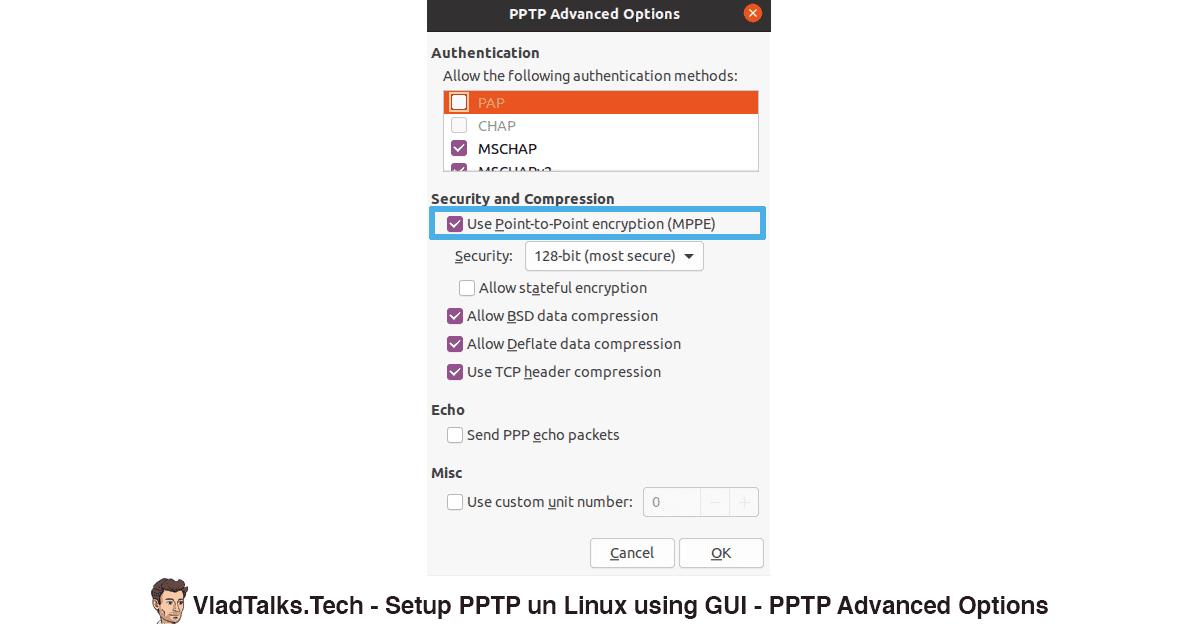 Setup PPTP on Linux (GUI) - Advanced PPTP Options