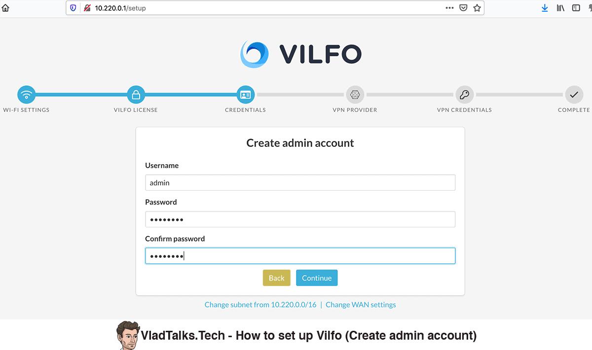 Vilfo setup - Create admin account