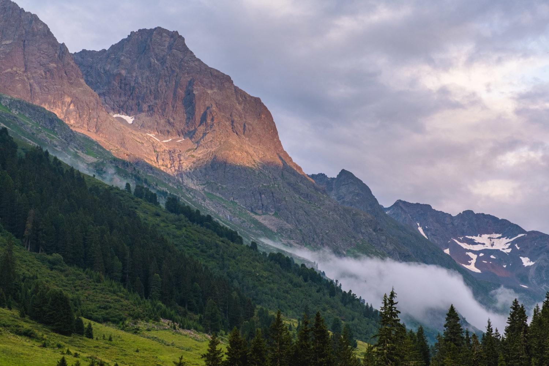 Alpenglühen auf der Verwallrunde bei Sankt Anton im Arlberg